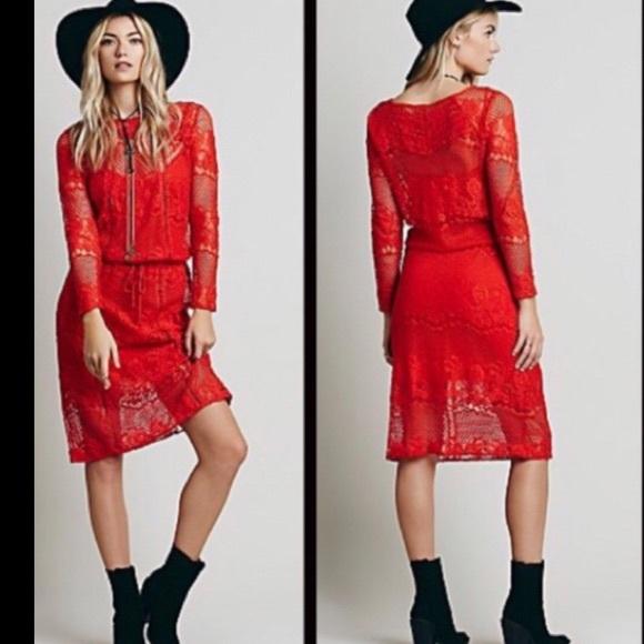 Free People Dresses & Skirts - Free People Red Crochet Dress